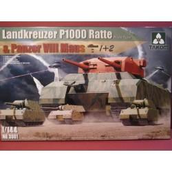 1/144 WWII Heavy Tank Landkreuzer P1000 Ratte & Panzer VIII Maus  3 in 1